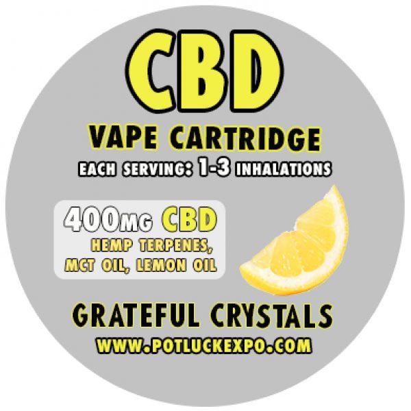 CBD VAPE CARTRIDGE HEMP CANNABIDIOL, E Juice, Vape, Oil, potluck, grateful crystals, expo, shop